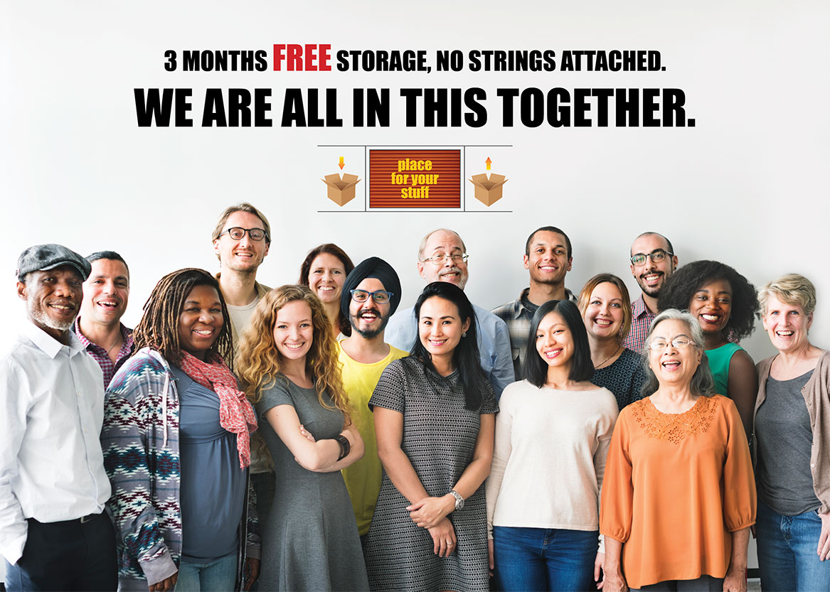 3 MONTHS FREE STORAGE, no strings attached!
